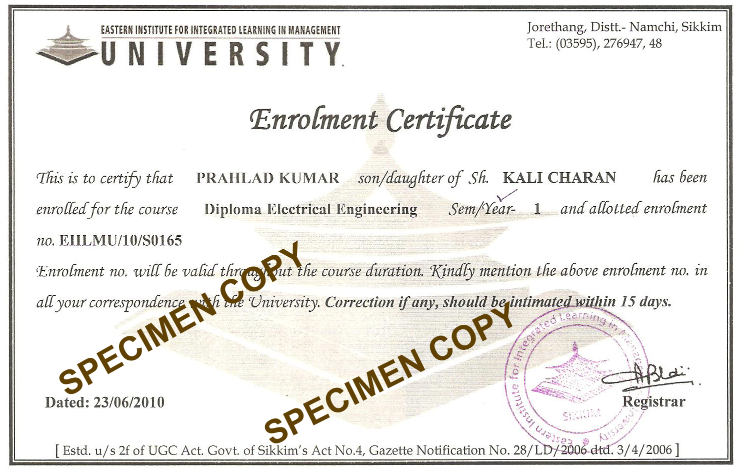 University Degree: Eiilm University Degree Form