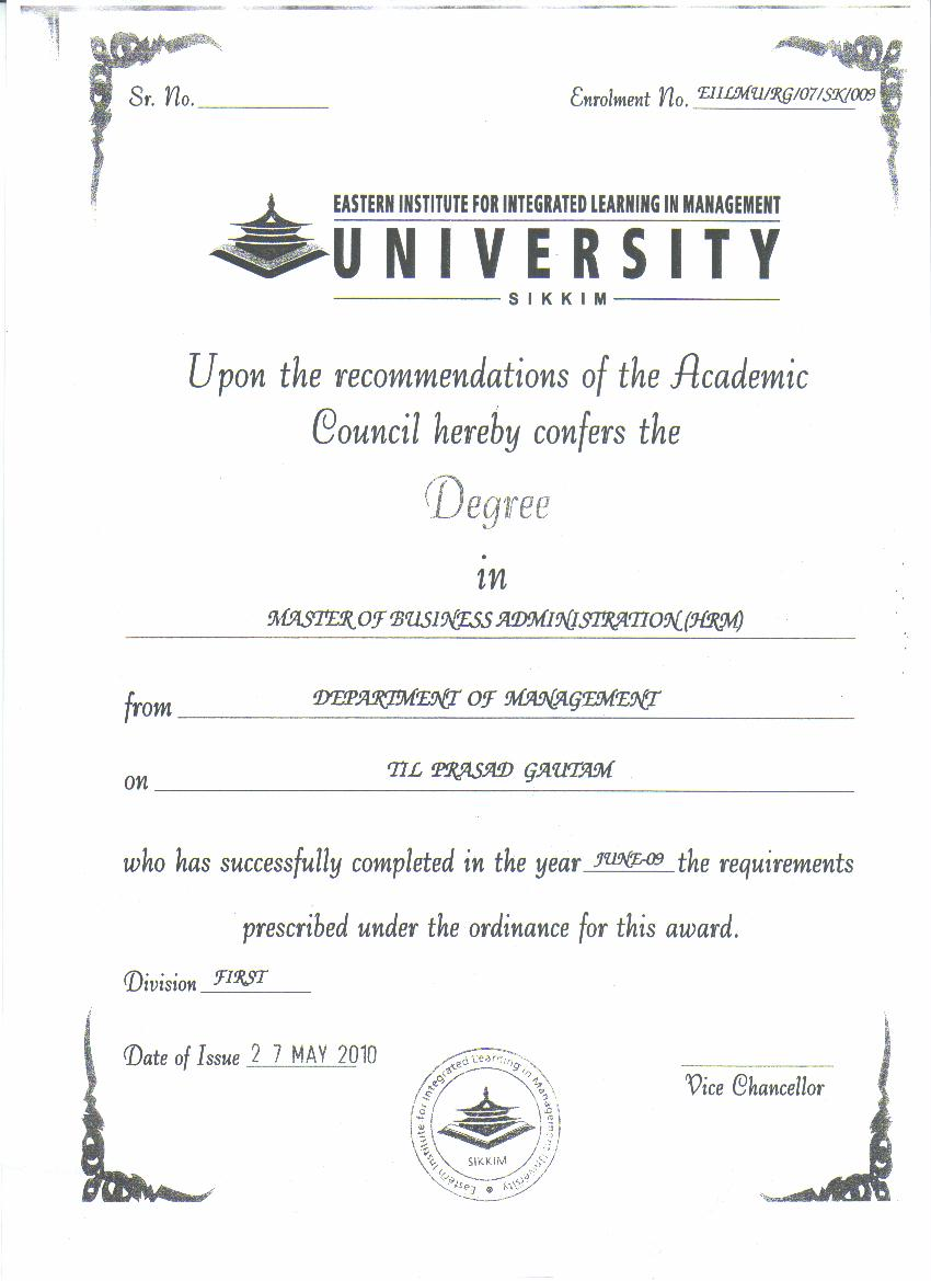 University degree certificate samples image collections university graduation certificate template choice image degree certificate samples images certificate design and template shridhar university yelopaper Choice Image